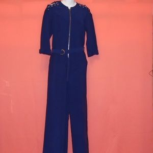 Guess Jumpsuit Navy Gold Laced Shoulder Sz Small